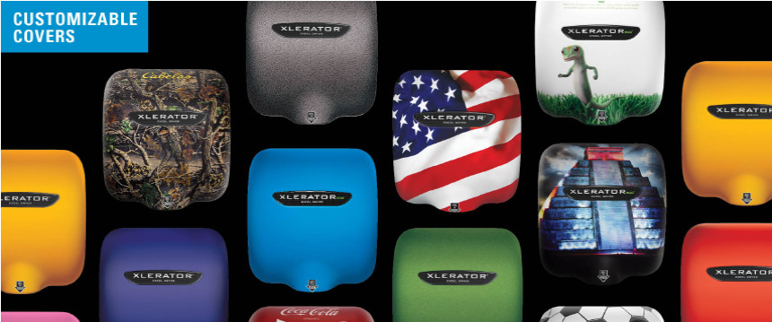 xlerator hand dryers now available with customized covers